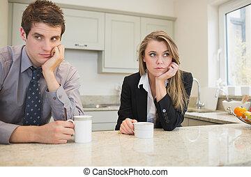 donna ed uomo, detenere, uno, disputa