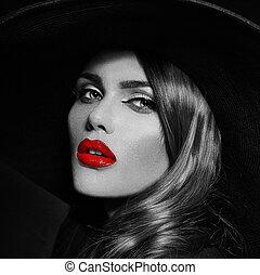 donna, elegante, caucasico, trucco, moda, glamor, pulito, giovane, closeup, cappello, bello, labbra, ritratto, look., pelle, nero, perfetto, alto, grande, sexy, modello, rosso, luminoso