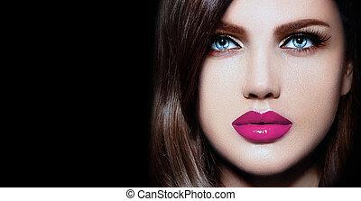 donna, elegante, caucasico, trucco, moda, glamor, pulito, naturale, giovane, closeup, bello, labbra, ritratto, look., pelle, perfetto, rosa, alto, sexy, modello, luminoso