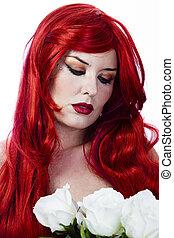 donna, elegante, mazzolino, capelli, rose, bianco rosso