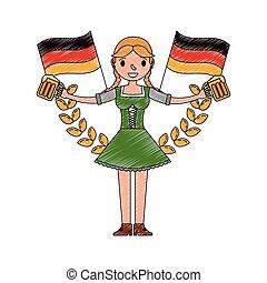 donna, emblema, bavarese, due, bandiere, presa a terra, birre