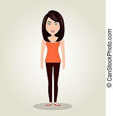 donna eretta, carattere, risorse umane, icona
