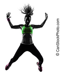 donna, esercitarsi, idoneità, zumba, ballo, saltare, silhouette