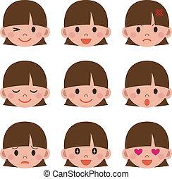 donna, espressione, facciale
