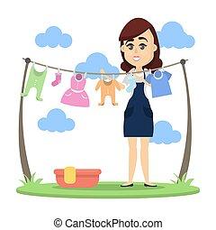 donna, essiccamento, clothes.