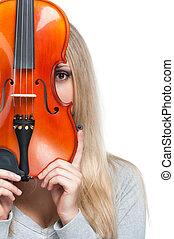 donna, esso, guardando attraverso, presa a terra, violino