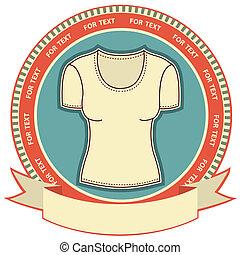 donna, etichetta, fondo, t-shirt, set, white., vettore, vestiti