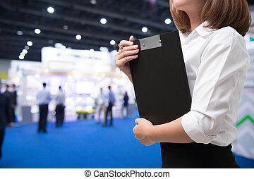 donna, evento, affari, mostra