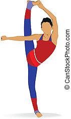 donna, excercise., attivo, yoga, v