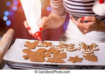 donna, fabbricazione, zenzero, biscotti, su, natale