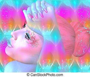 donna, faccia, rosa, astratto