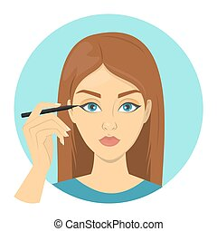 donna, fare, facciale, truccare, e, applicare, occhio, liner.