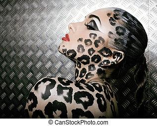 donna, fare, leopardo, giovane, su, sexy