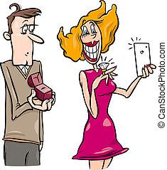 donna, fare, proposta, selfie, cartone animato