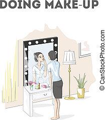 donna, fare, truccare, a, il, specchio