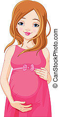 donna felice, b, apparecchiato, incinta