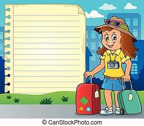 donna felice, blocco note, turista, pagina