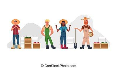 donna felice, cartone animato, raccogliere, illustration., contadino, professione, isolato, ranch, set, vettore, carattere, verdura, cappello, villaggio, uomo, rurale, giardiniere, forchetta, rastrello, persone, collection., agricoltura, cibo.