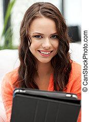 donna felice, con, pc tavoletta, computer