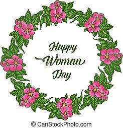 donna felice, scheda, frame., decorativo, vettore, giorno, testo, sagoma, fiore dentellare