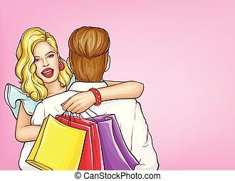 donna felice, shopping, arte popolare, vettore, concetto