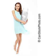 donna felice, su, shopping