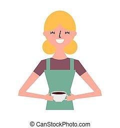 donna felice, tenendo tazza