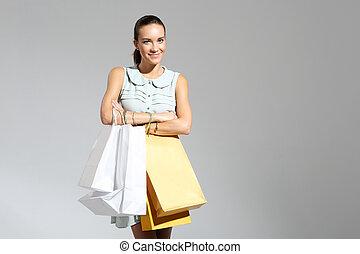 donna felice, -, uno, riuscito, shopping
