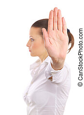 donna, fermata, isolato, segno, segnalazione, fondo, rabbia, bianco