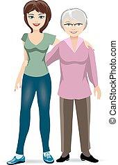 donna, figlia, adulto, anziano