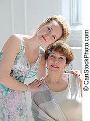 donna, figlia, lei, mezza età, giovane, ritratto