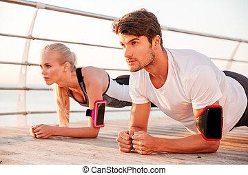 donna, fine, asse, esercizio, uomo