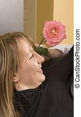 donna, fiore, offerta, uomo