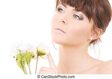 donna, fiori