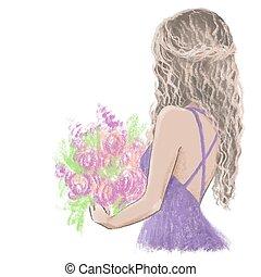 donna, fiori, matrimonio, cartelle, ragazza, giovane, inviti, hands., fiore, lei, illustrazione