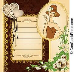 donna, fiori, silhouette