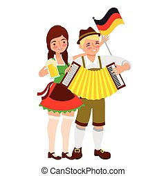 donna, fisarmonica, bavarese, birra, bandiera, uomo