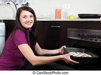 donna, fish, cottura, torta, forno, felice