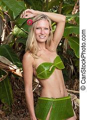 donna, foglie, giovane, proposta, biondo, banana