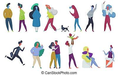 donna, folla, persone, studenti, amore, set., pet., piccolo, vettore, genitori, illustrazione, capretto, coppia, uomo