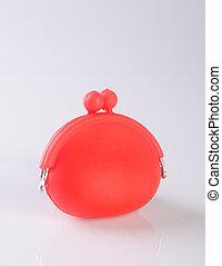 donna, fondo., colour), borsellino, portafoglio, (red, o