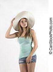 donna, fondo, sopra, carino, cappello bianco