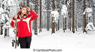 donna, foresta, sciare