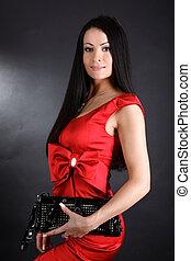 donna, frizione, giovane, borsa, vestire, rosso