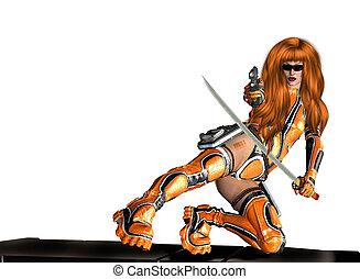 donna, fucile, spada, presa a terra