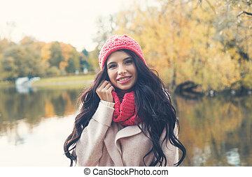 donna, fuori, parco, autunno, fondo, cadere, felice