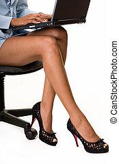 donna, gambe, affari