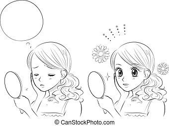 donna, giapponese, orzaiolo, cura pelle, manga