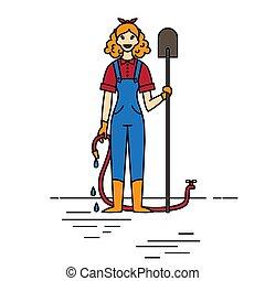donna, giardinaggio, contorno, character., irrigazione, fondo., pala, lattina, contadino, bianco, agricoltura, ragazza, giardiniere, felice