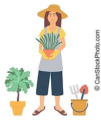 donna, giardinaggio, otri, vettore, fiore, hobby
